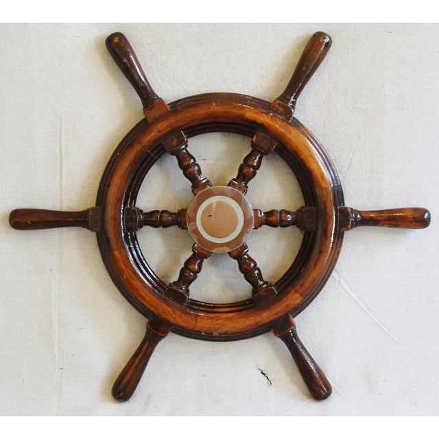 1950s Nautical Wood & Brass Ship's Wheel - Image 7 of 9