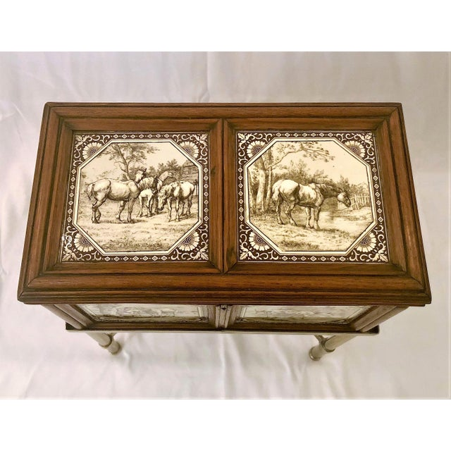 English Traditional Antique English Humidor on Stand Inlaid With Minton Porcelain Tiles Depicting Horses and Livestock Scenes, Circa 1860-1880. For Sale - Image 3 of 7