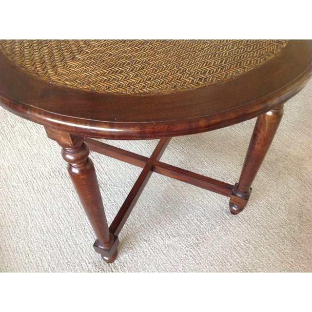 Round Wood Table With Woven Wicker Top For Sale - Image 4 of 6