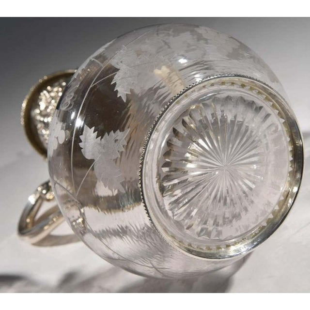 Traditional English Sliver Plated and Engraved Glass Claret Jugs - a Pair For Sale - Image 3 of 10