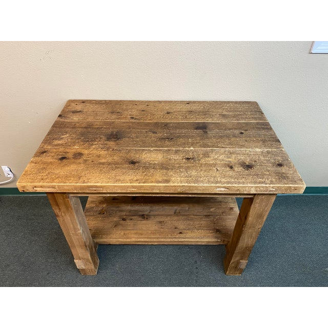 Rustic Restoration Hardware Salvaged Wood Island For Sale - Image 3 of 13
