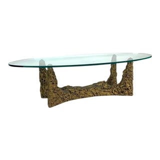 Heavy Cast Bronze Sculptural Metal Brutalist Coffee Table -Manner of Paul Evans For Sale