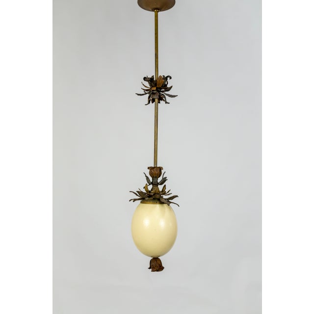 2010s Ostrich Egg and Antique Metal Pendant For Sale - Image 5 of 13