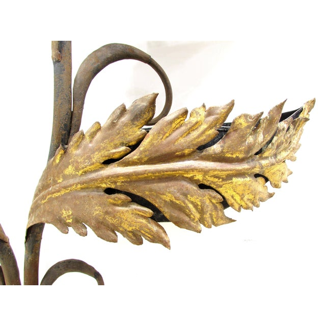 Metal Wrought Iron and Gilt Garden Wall Hanging For Sale - Image 7 of 11