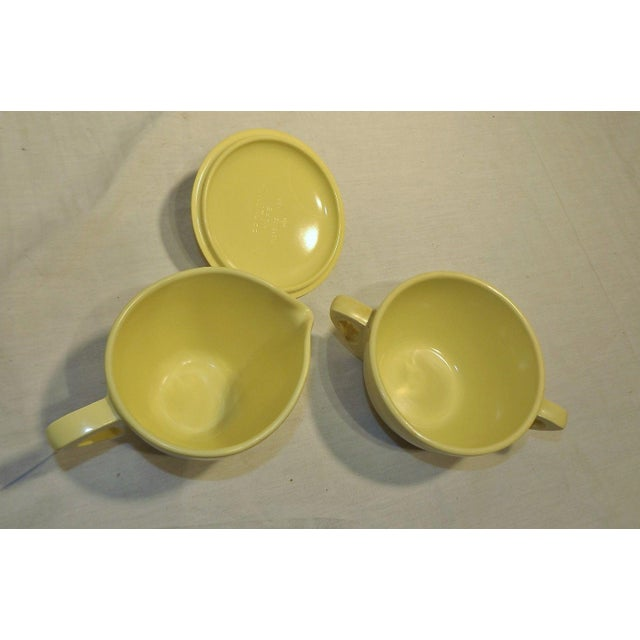 Retro Pale Yellow Melmac Prolon Ware Creamer and Sugar With Lid For Sale - Image 4 of 5