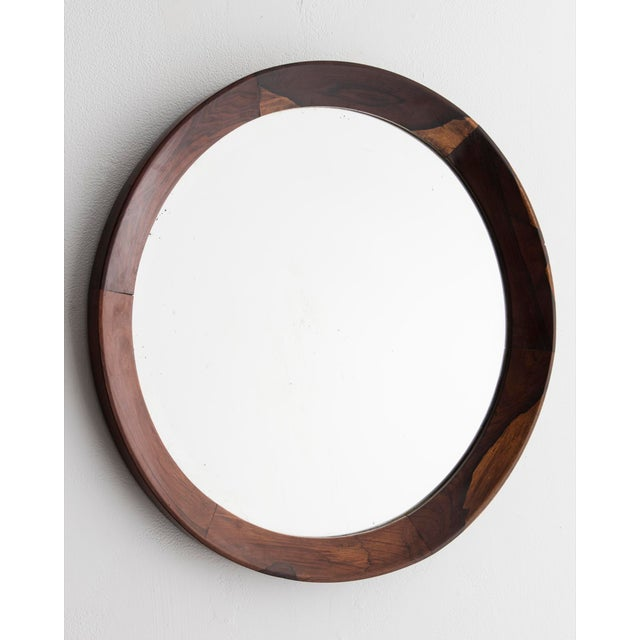 Incredible Round mirror with jacaranda frame. Brazil, 1960s. | DECASO