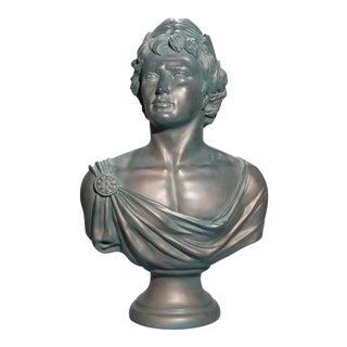 Antique Classical Bronzed Plaster Portrait Sculpture of Caesar Circa 1930 For Sale