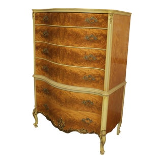 1930s French Provincial RomWeber Burl Satinwood Chest on Chest For Sale