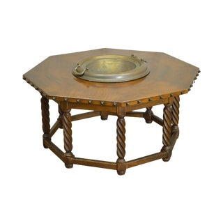 Spanish Renaissance Style Walnut Octagon Coffee Table w/ Brass Bowl For Sale