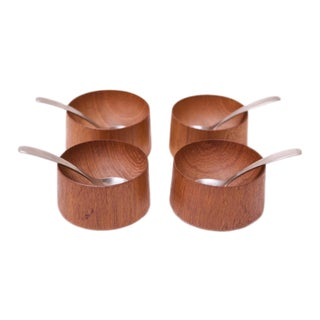 Set of Four Danish Modern Teak Egg Cups / Salts by Ole Hansen for P. Broste For Sale