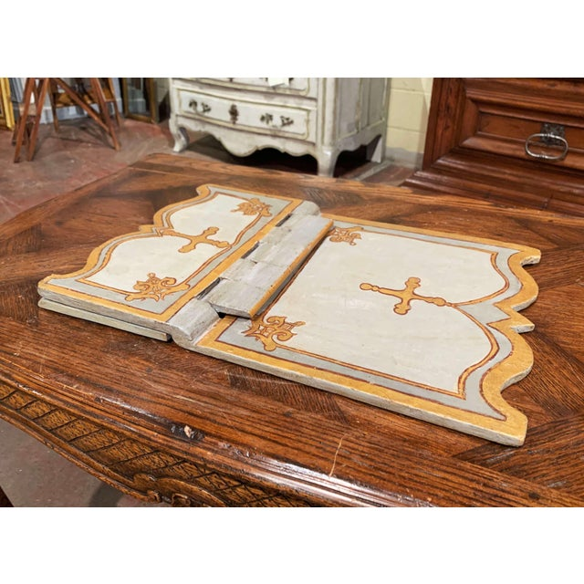 Blue 18th Century Italian Carved Giltwood and Painted Holy Bible Folding Book Stand For Sale - Image 8 of 10