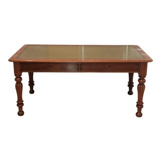 Antique Fruitwood Leather Top Library Table Writing Desk