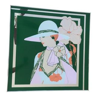 1970s Vintage Figurative Silk Screen Mirror For Sale