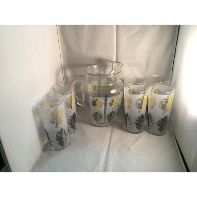 Vintage Gold Leaf Water Pitcher and Glasses - Set of 7 For Sale - Image 9 of 9