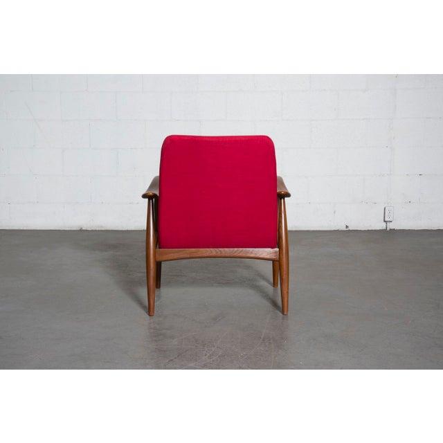 Mid-Century Magenta Upholstery Teak Lounge Chair - Image 6 of 10
