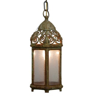 Antique Iron and Glass Lantern With Remnants of Green Paint For Sale