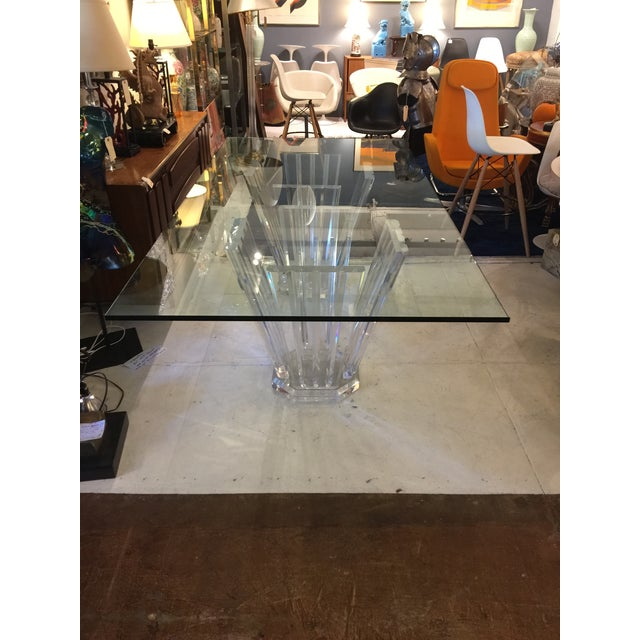 """Attractive 80's modern double pedestal lucite glass top dining table. The 3/4"""" glass light beveled, rectangular shape...."""
