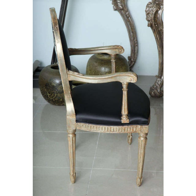 Rare Set of Four Italian Neoclassic Silver Gilt Armchairs - Image 2 of 8