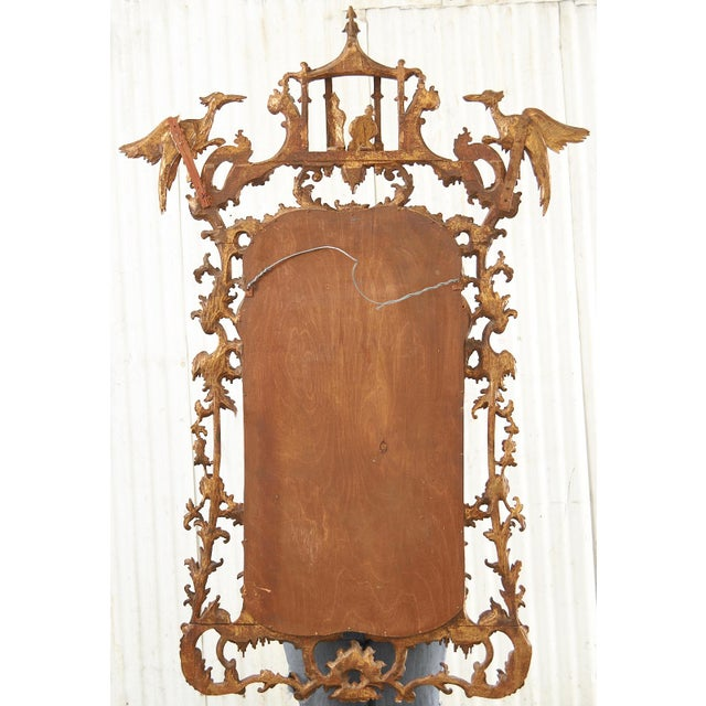 Pair of Chinese Chippendale Style Pagoda Mirrors With Ho Ho Birds For Sale - Image 12 of 13