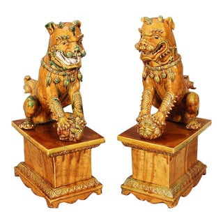 Terra Cotta Foo Dogs - a Pair For Sale