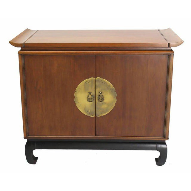 Oriental Modern Walnut Server Cabinet For Sale - Image 4 of 7