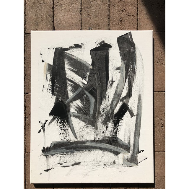 Abstract Black and White Abstract Painting on Canvas For Sale - Image 3 of 3