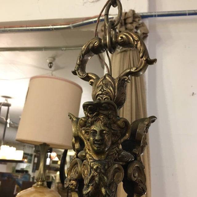 Brass Antique Belgian Brass Chandelier For Sale - Image 7 of 11