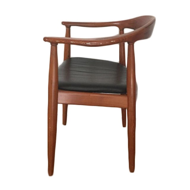 Hans Wegner Style Teak & Leather Chairs - Set of 4 - Image 2 of 5