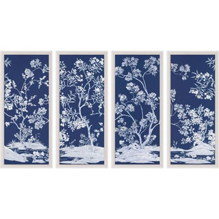 Blue Tree Panel, Framed Artwork - Set Of 4 For Sale