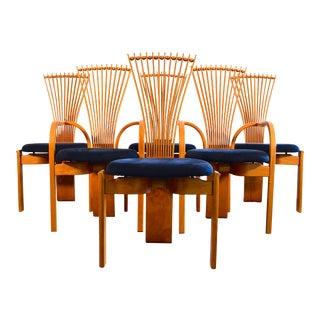 1980s Vintage Westnofa Torstein Nilsen Teak Totem Dining Chairs- Set of 6 For Sale