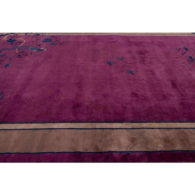 Antique Purple Chinese Mandarin Wool Rug 9 Ft 9 in X 16 Ft 3 In. For Sale - Image 10 of 11