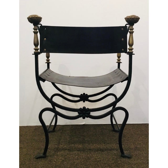 Metal Antique Iron and Leather Campaign Chair For Sale - Image 7 of 8