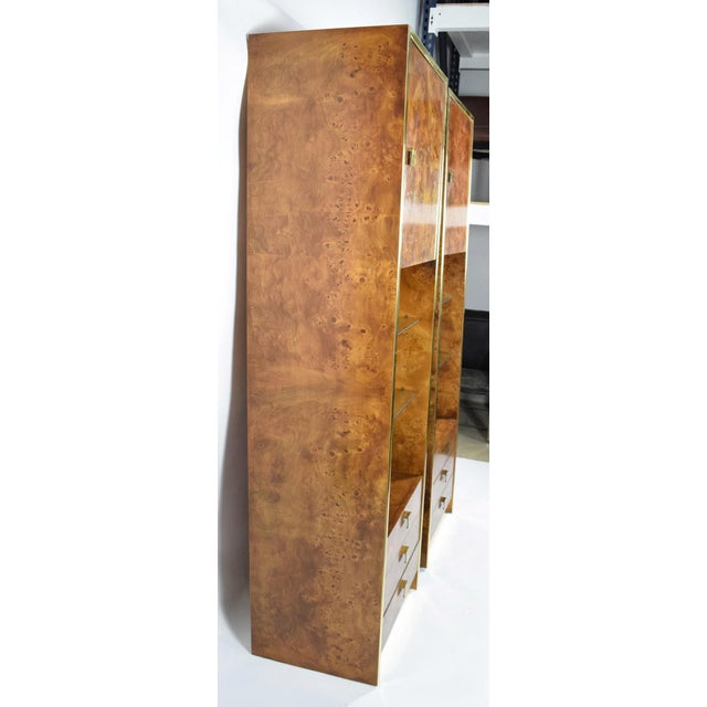 1970s Milo Baughman Styled Burled Walnut Wall Units by Founders of Thomasvile - A Pair For Sale - Image 5 of 10