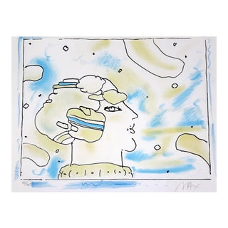 1970s Mid-Century Modern Framed Print of Cosmic Face by Peter Max