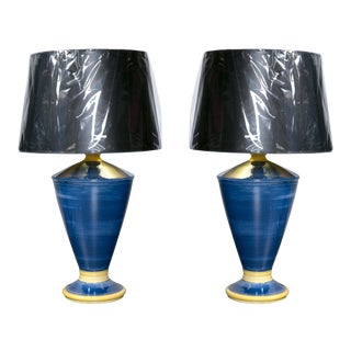 Mid-Century Blue and Yellow Pottery Lamps - a Pair For Sale