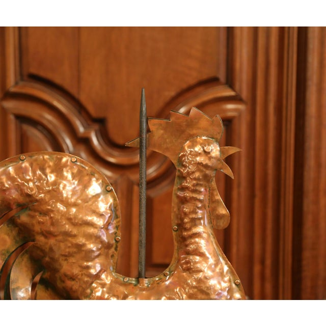 Late 18th Century 18th Century French Polished Copper Rooster Weathervane on Sandstone Stand For Sale - Image 5 of 11