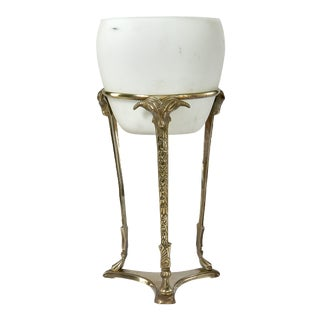 1930s Brass Pedestal Table Lamp For Sale