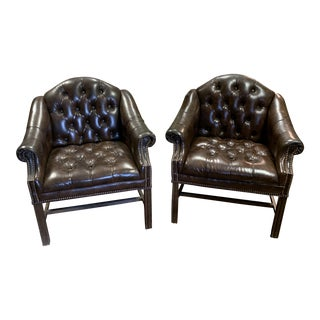 Chesterfield Faux Leather Tufted Chairs - A Pair For Sale