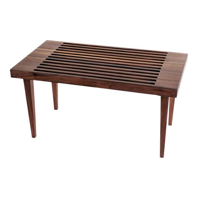 Mid Century Modern Wooden Slat Bench - Image 1 of 9