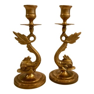 Pair of Brass Koi Candlesticks For Sale