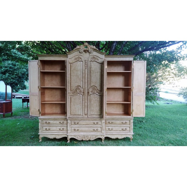 1990s French Bau Carved Aged White Crackle Painted Wardrobe For Sale - Image 6 of 13