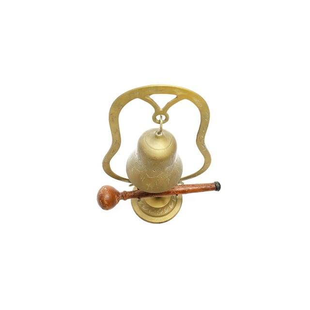 Asian Vintage Mid Century Hand Made and Etched Hanging Brass Bell With Wooden Mallet For Sale - Image 3 of 4