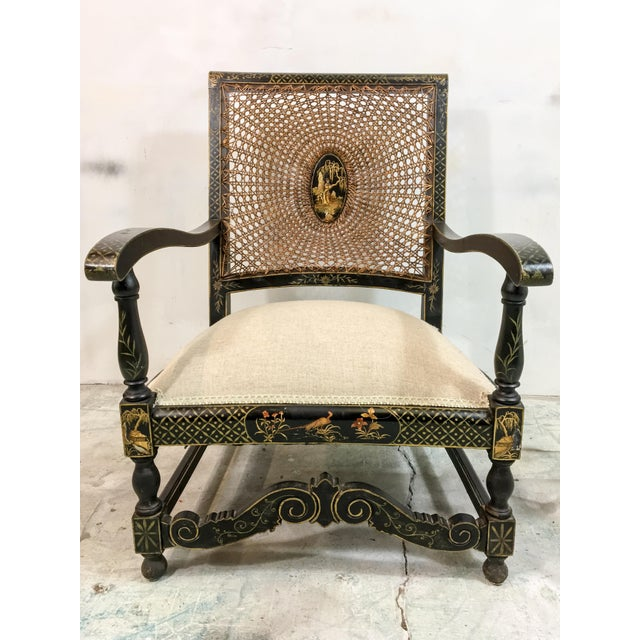 Caning Antique Chinoiserie Arm Chairs - a Pair For Sale - Image 7 of 7