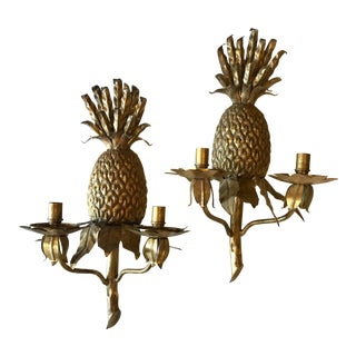 Traditional Gold Tole Pineapple Candle Sconces - a Pair For Sale