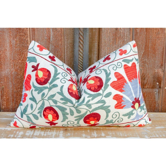 Jhui Coral Floral Suzani Pillow For Sale - Image 9 of 10