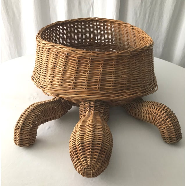 Chinoiserie Mid Century Mario Torres Lopez Style Chinoiserie Large Wicker Turtle Basket Planter For Sale - Image 3 of 7