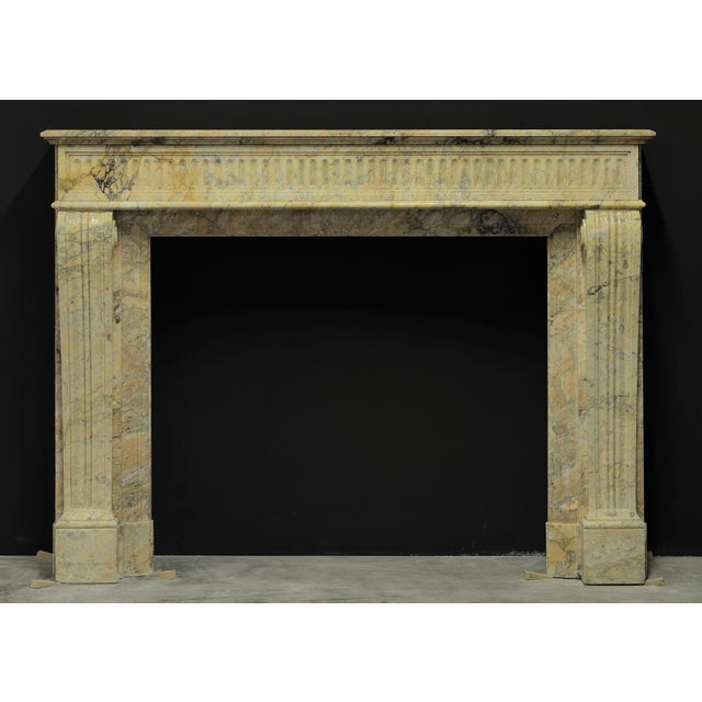 Antique Escallete Marble Louis XVI Fireplace Mantel - Free Shipping - For Sale - Image 9 of 9