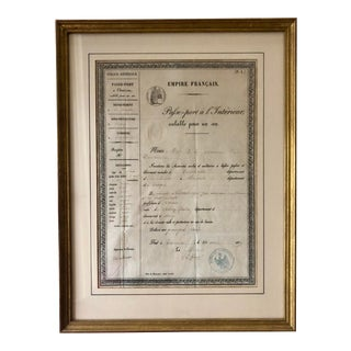 French Framed 2nd Empire Passport For Sale