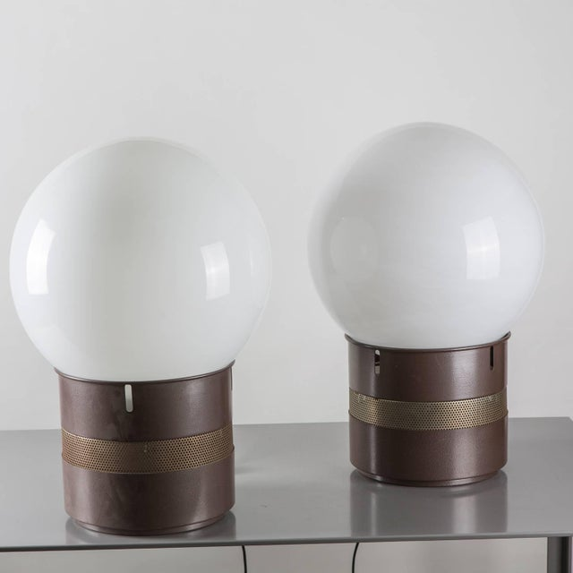"""Pair of """"Mezzo Oracolo"""" floor or table lamps by Gae Aulenti for Artemide. Totemic pieces with huge opaline glass shade...."""