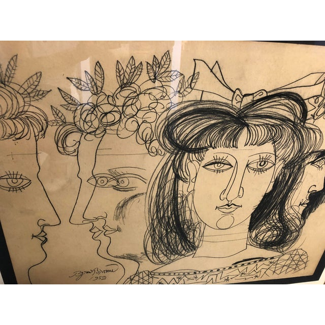 1950s 1952 Conte Crayon on Paper Expressionist Art For Sale - Image 5 of 8